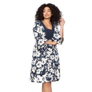Eloquii floral dress - wide dramatic sleeve